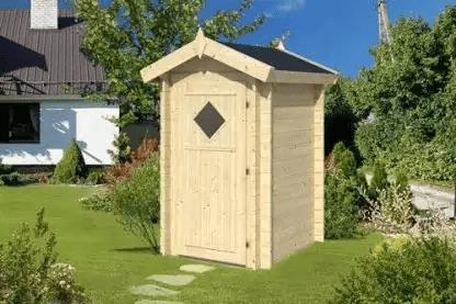 Houten buiten-toilethuisje