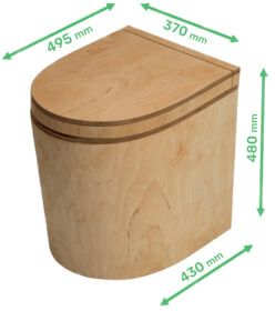 Ecosave Trobolo Tinybloem houten droogtoilet Maten