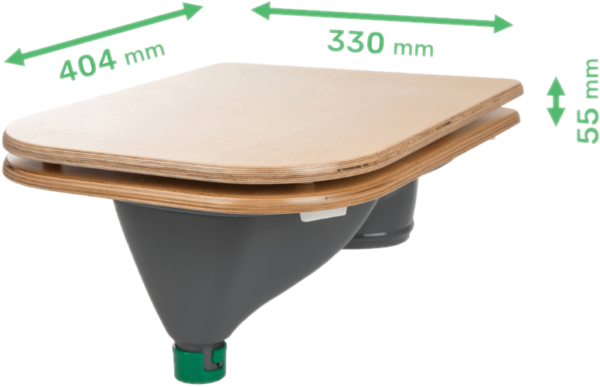 Ecosave Trobolo urinescheider met bril afmetingen