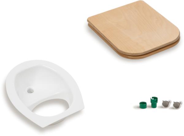 Ecosave Trobolo urinescheider met houten bril met onderdelen wit
