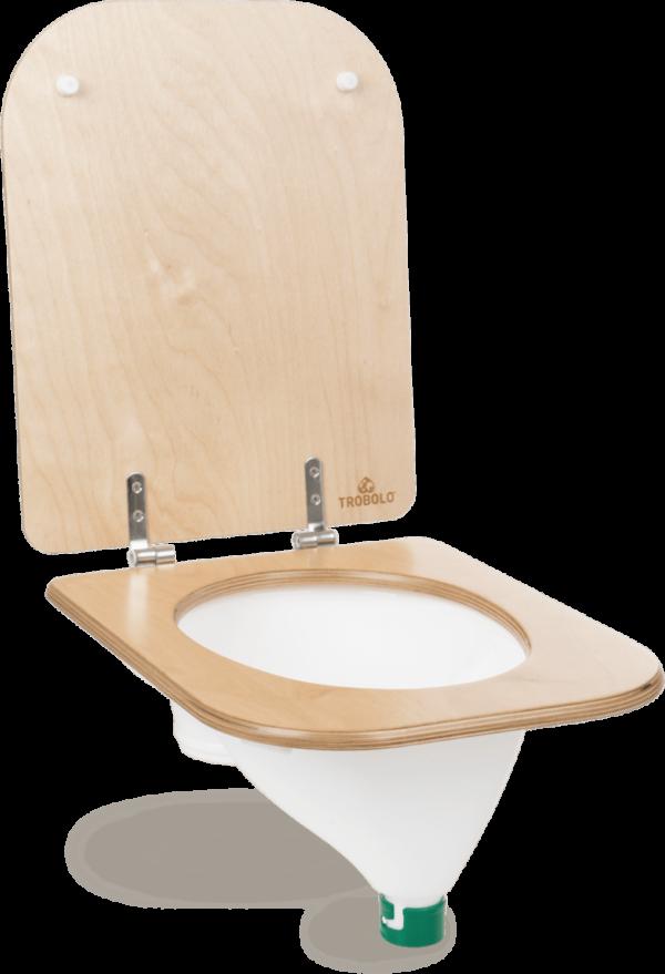Ecosave Trobolo urinescheider met houten bril rechter zijaanzicht wit