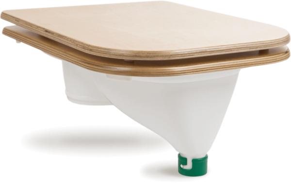 Ecosave Trobolo urinescheider met houten bril zijaanzicht dicht wit