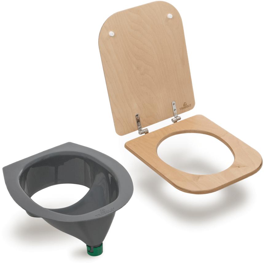 Ecosave Trobolo urinescheider met houten bril bovenaanzicht